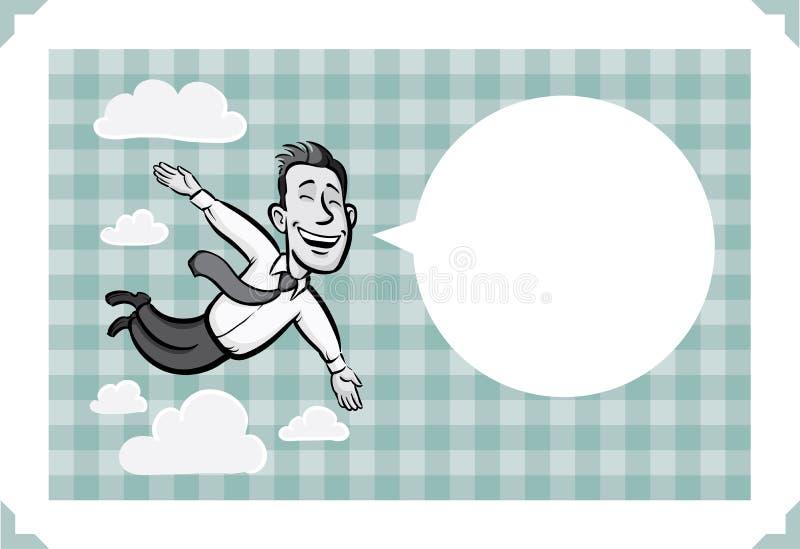 Hälsningkort med att flyga den lyckliga affärsmannen royaltyfri illustrationer