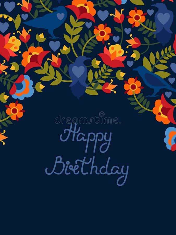 Hälsningkort med blommor och fågelravens Text: ` För lycklig födelsedag för `, Ljusa bilder på en mörk bakgrund royaltyfri illustrationer