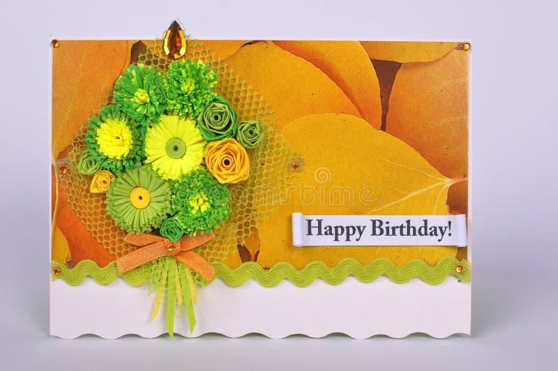 Hälsningkort med buketten av blommor arkivbilder