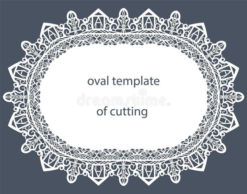 Hälsningkort med den dekorativa ovala gränsen, doily av papper under kakan, mall stock illustrationer