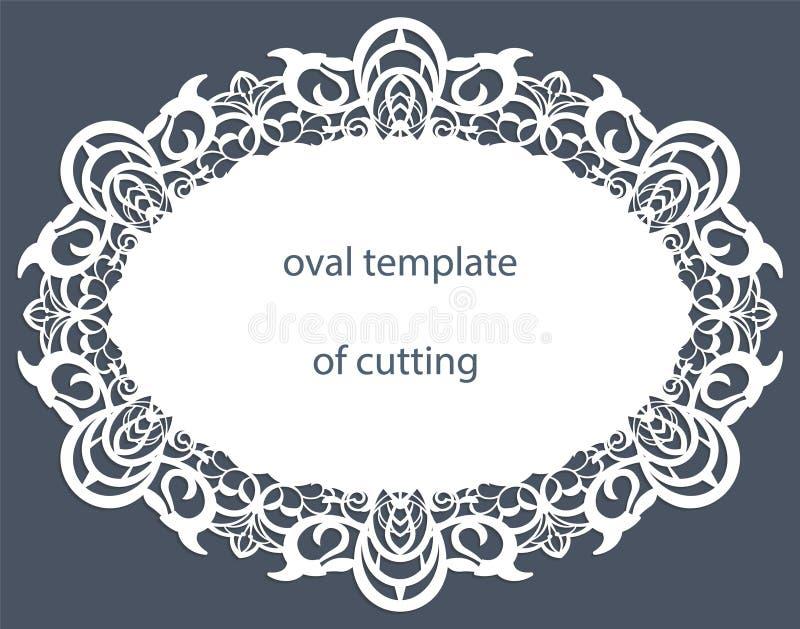 Hälsningkort med den dekorativa ovala gränsen, doily av papper under kakan, mall för att klippa som gifta sig inbjudan, dekorativ stock illustrationer