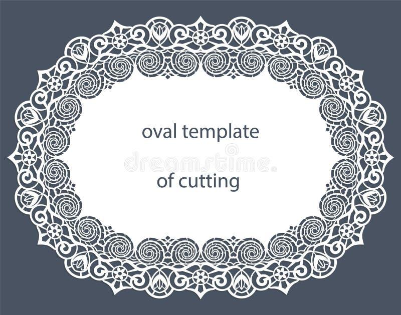Hälsningkort med den dekorativa ovala gränsen, doily av papper under kakan, mall för att klippa som gifta sig inbjudan, dekorativ vektor illustrationer