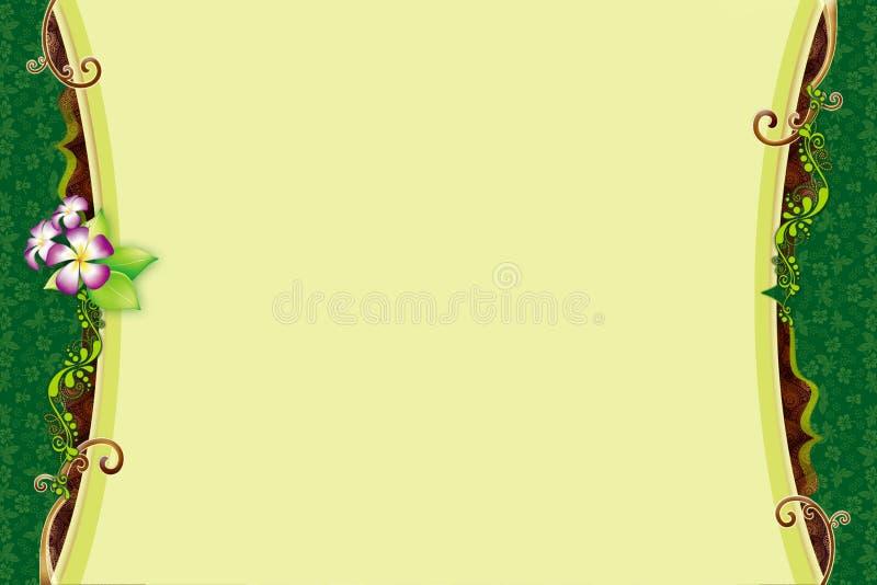 Hälsningkort med den gröna blom- ramen och virvel vektor illustrationer