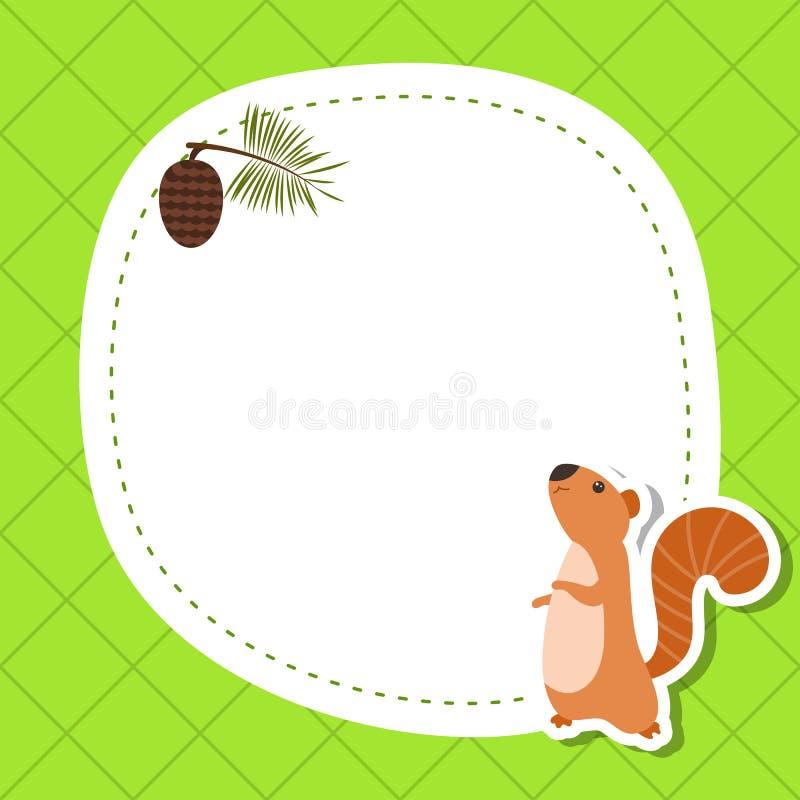 Hälsningkort med den gulliga ekorren vektor illustrationer