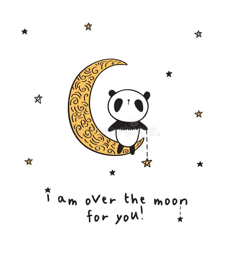 Hälsningkort med den gulliga pandan på den guld- månen stock illustrationer