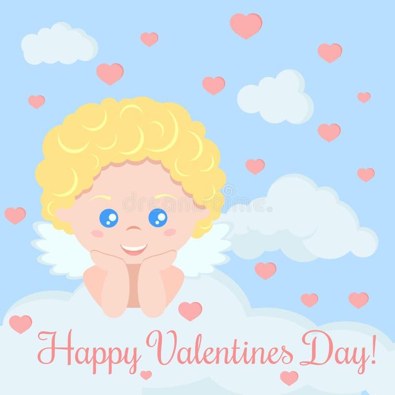 Hälsningkort med den gulliga romantiska kupidonpojken som ligger på ett moln stock illustrationer
