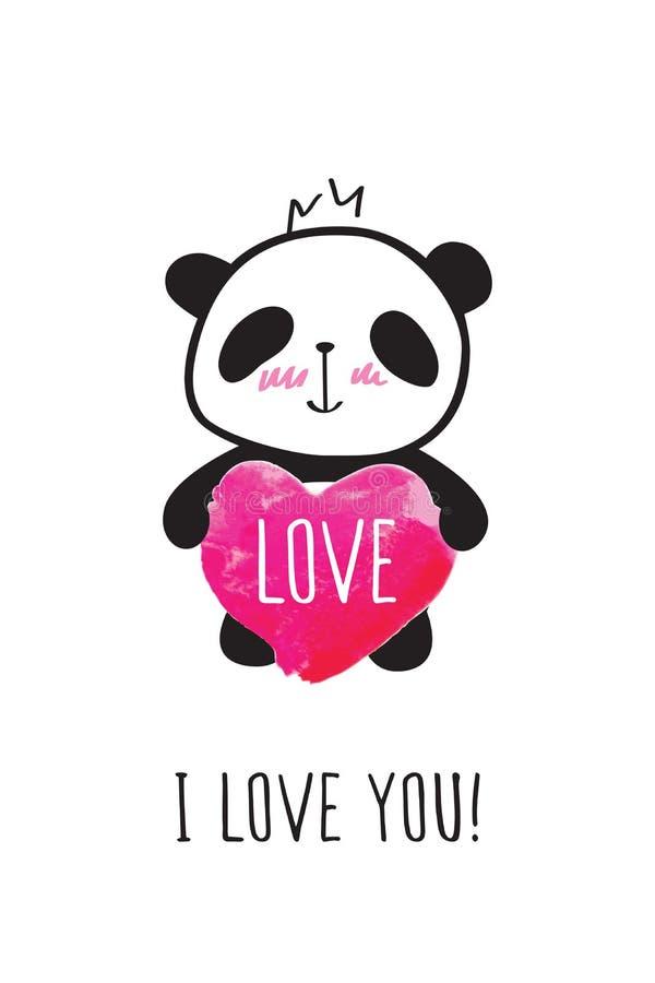 Hälsningkort med den hand dragen gullig pandan och hjärta stock illustrationer