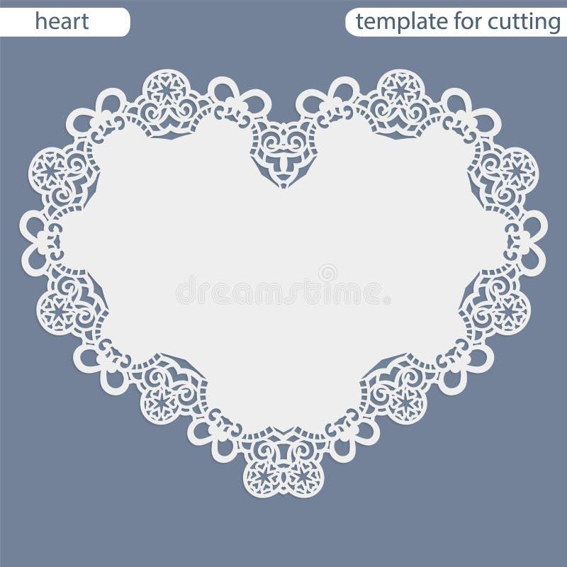 Hälsningkort med den openwork gränsen, pappers- doily under kakan, mall för att klippa i form av hjärta, valentinkort, weddin royaltyfri illustrationer