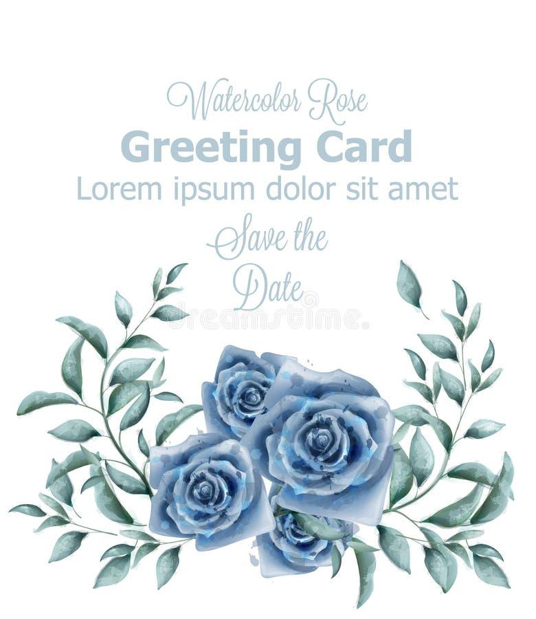 Hälsningkort med det blåa banret för rosvattenfärgvektor Härliga affischer för dekor för pastellfärgade färger för tappning blom- royaltyfri illustrationer