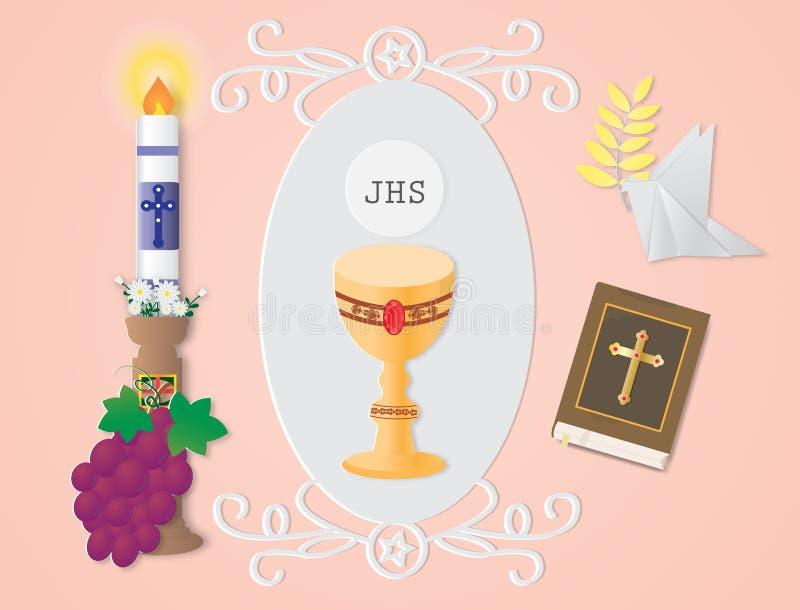 Hälsningkort med det kristna religiontecknet och symbol royaltyfri illustrationer