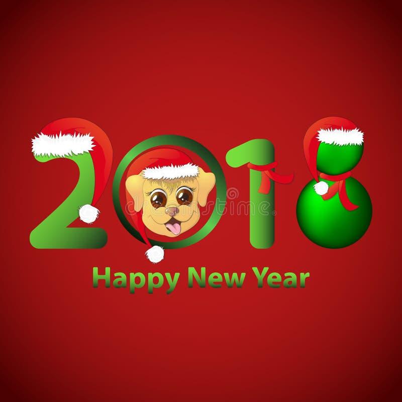 Hälsningkort med det nya året 2018, härlig original- design royaltyfri illustrationer