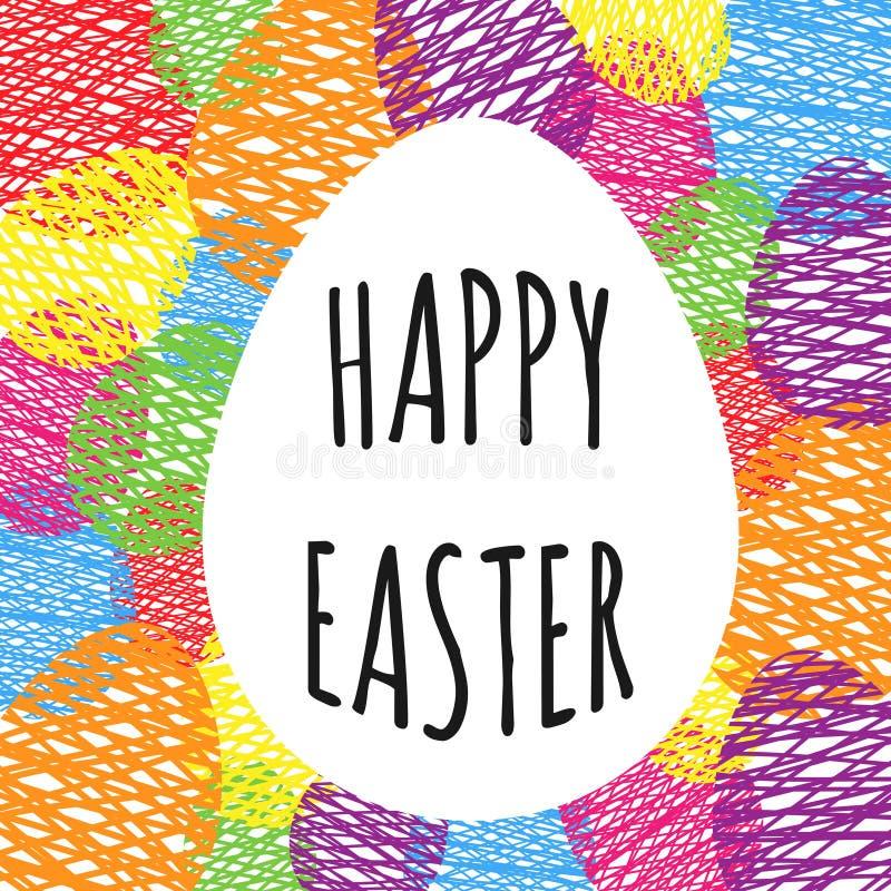 Hälsningkort med easter ägg Äggklotterbakgrund royaltyfri illustrationer