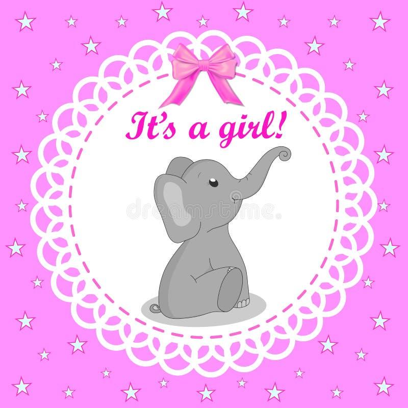 Hälsningkort med elefanten för en flicka på baby shower Rosa bakgrund Baby showerinbjudankort med den gråa elefanten Vektor d?lig royaltyfri illustrationer
