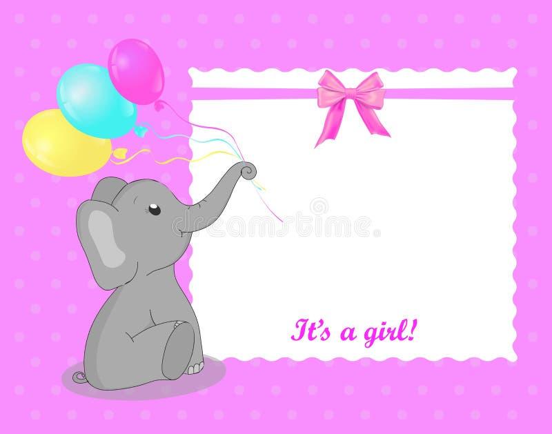 Hälsningkort med elefanten för en flicka på baby shower Vit ram p? rosa bakgrund Baby showerinbjudankort med grå eleph royaltyfri illustrationer