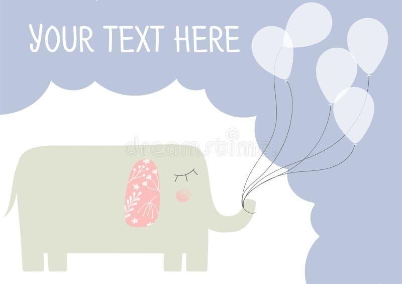 Hälsningkort med elefantmallen royaltyfri illustrationer