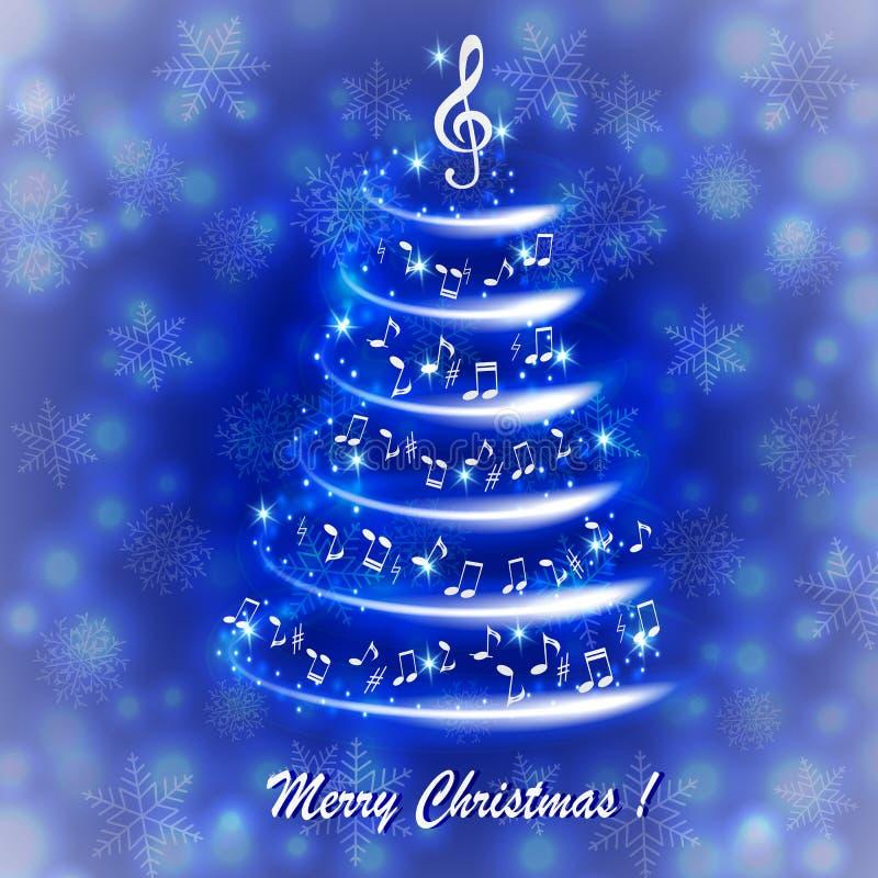 Hälsningkort med en abstrakt musikalisk julgran, med anmärkningar och G-klav stock illustrationer