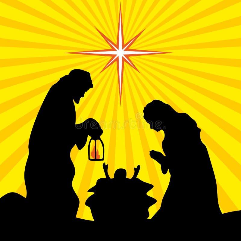 Hälsningkort med en julberättelse Mary och Joseph med behandla som ett barn Jesus i Betlehem royaltyfri illustrationer