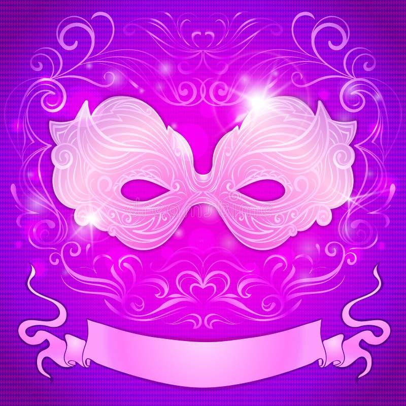 Hälsningkort med en purpurfärgad maskering och band för royaltyfri illustrationer
