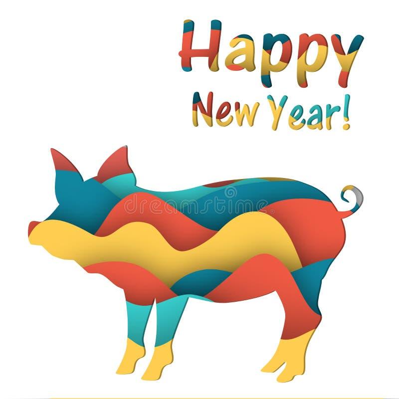 Hälsningkort med ett svin för nytt år royaltyfri illustrationer