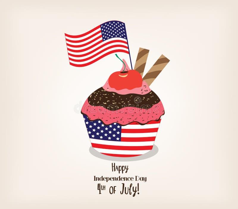Hälsningkort med flaggan Amerikansk patriotisk themed muffin för 4th Juli vektor illustrationer