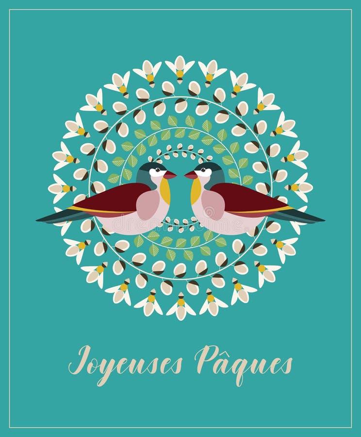 Hälsningkort med fransk text Joyeuses Paques, på engelska lycklig påsk Pussy Willow Branches, gröna sidor, bin och två fåglar stock illustrationer