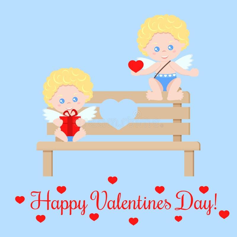 Hälsningkort med gulliga isolerade romant par av kupidon med en hjärta och en gåva stock illustrationer