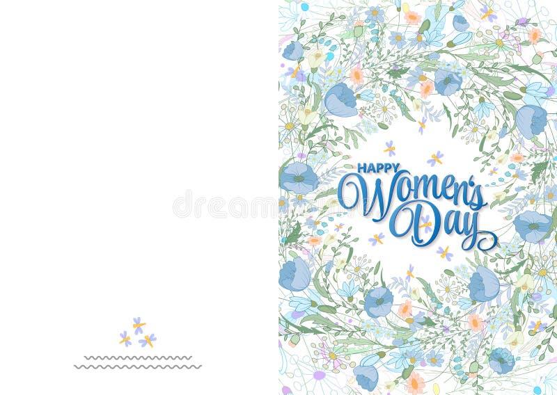 Hälsningkort med gulliga små blommor 8 marsch - dag för kvinna` s Ordna till för att skriva ut kortet stock illustrationer