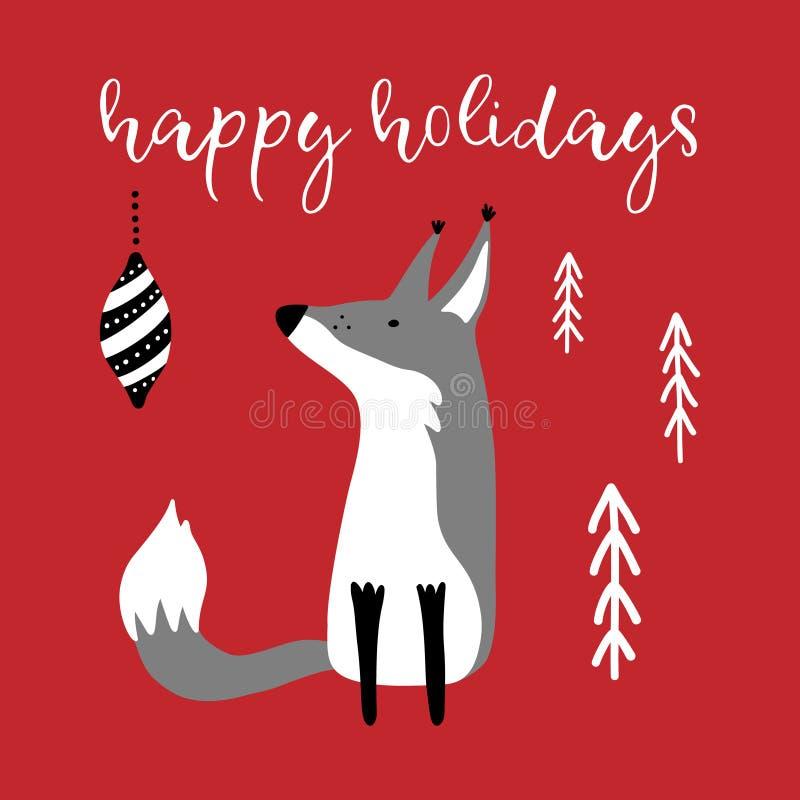 Hälsningkort med hand drog gulliga lyckliga ferier för räv och för inskrift royaltyfri illustrationer