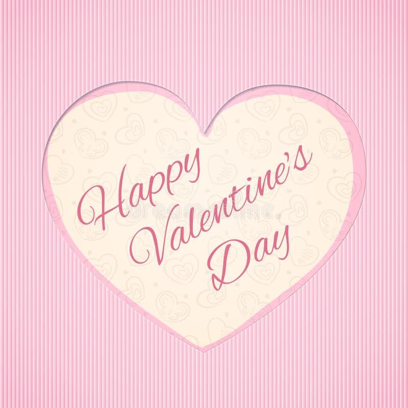 Hälsningkort med hjärtaform och för valentin` s för inskrift lycklig dag arkivfoton