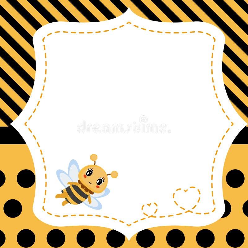 Hälsningkort med honungbiet royaltyfri illustrationer
