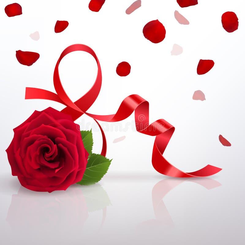 Hälsningkort med internationell dag för kvinna` s och den röda rosen vektor illustrationer