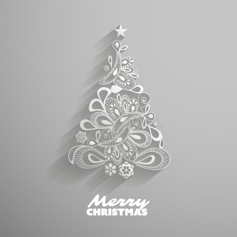 Hälsningkort med julgranen, abstrakt bakgrund för ferier, idérik design stock illustrationer