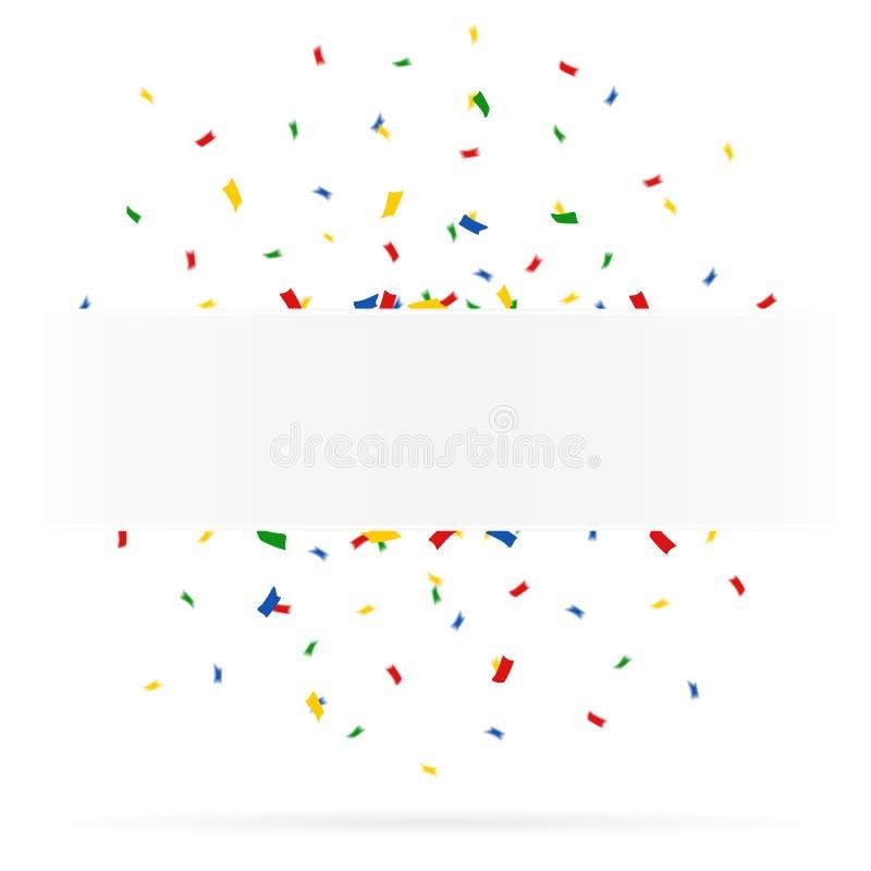 Hälsningkort med konfettier arkivbild