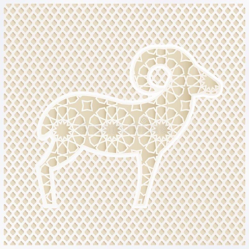 Hälsningkort med konturn av dekorativa får och den traditionella arabiska modellen Vektorillustrationbakgrund för stock illustrationer
