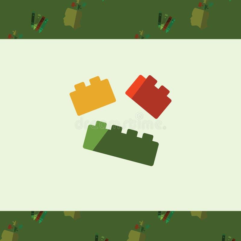 Hälsningkort med legosymbol stock illustrationer
