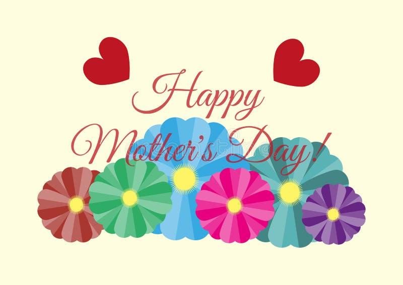 Hälsningkort med lycklig mors dag för text! Blommor och hjärtor på ljus bakgrund royaltyfri illustrationer