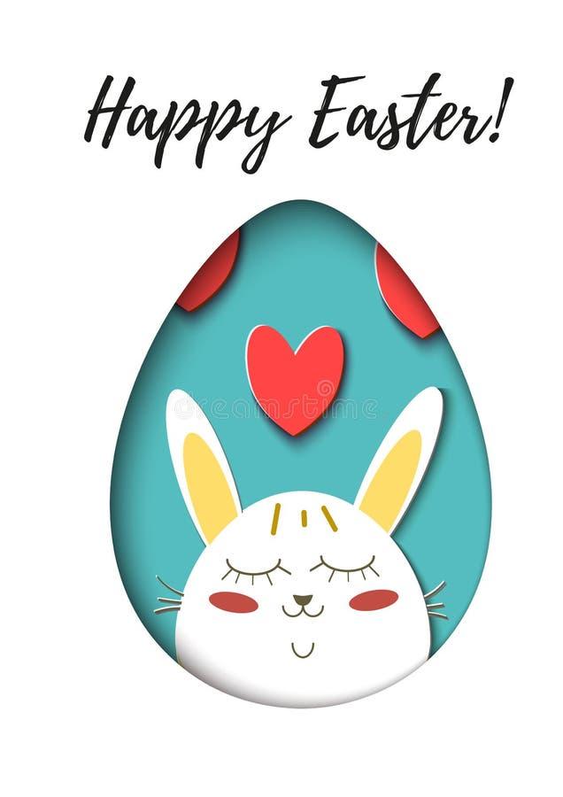 Hälsningkort med lycklig påsk - kanin och ägg Rolig tecknad film för kaninvårferie Vektor klippt ut pappers- symbol vektor illustrationer
