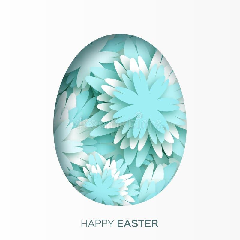 Hälsningkort med lycklig påsk - med blått blomma påskägget på vit bakgrund royaltyfri illustrationer