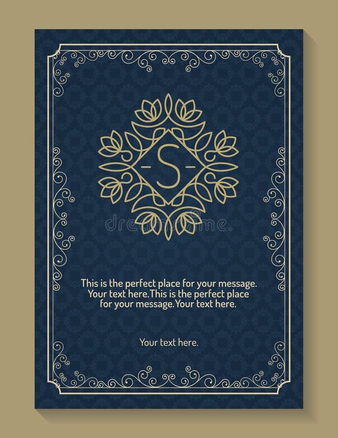 Hälsningkort med monogramlogoen och ramlinjen guld- färg för stil stock illustrationer