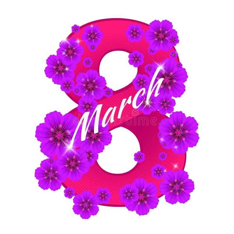 Hälsningkort med nummer åtta som består av blommor till 8 ferie för mars - internationell dag för kvinna` s vektor illustrationer