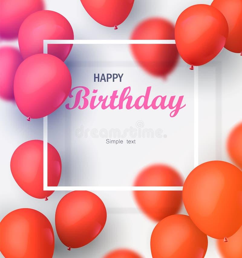 Hälsningkort med ramen och lotten av röda ballonger Vektorillustration för lycklig födelsedag arkivfoto