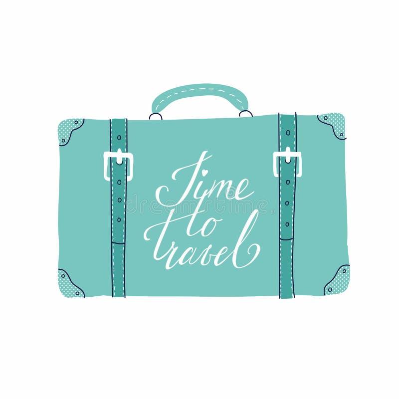 Hälsningkort med resväskan om loppet, semester, affärsföretag vektor illustrationer