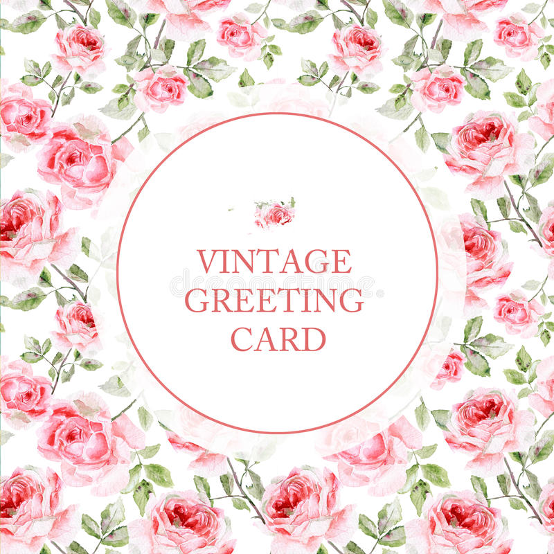 Hälsningkort med rosa rosor på vit bakgrund royaltyfri illustrationer