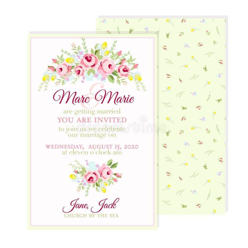 Hälsningkort med små rosa rosor royaltyfri illustrationer