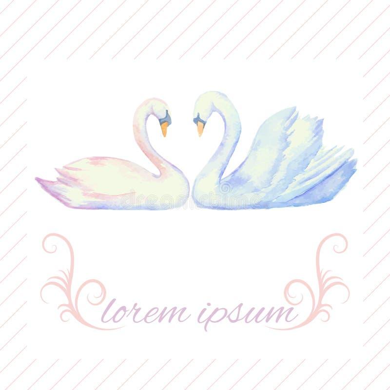 Hälsningkort med svanar royaltyfri illustrationer