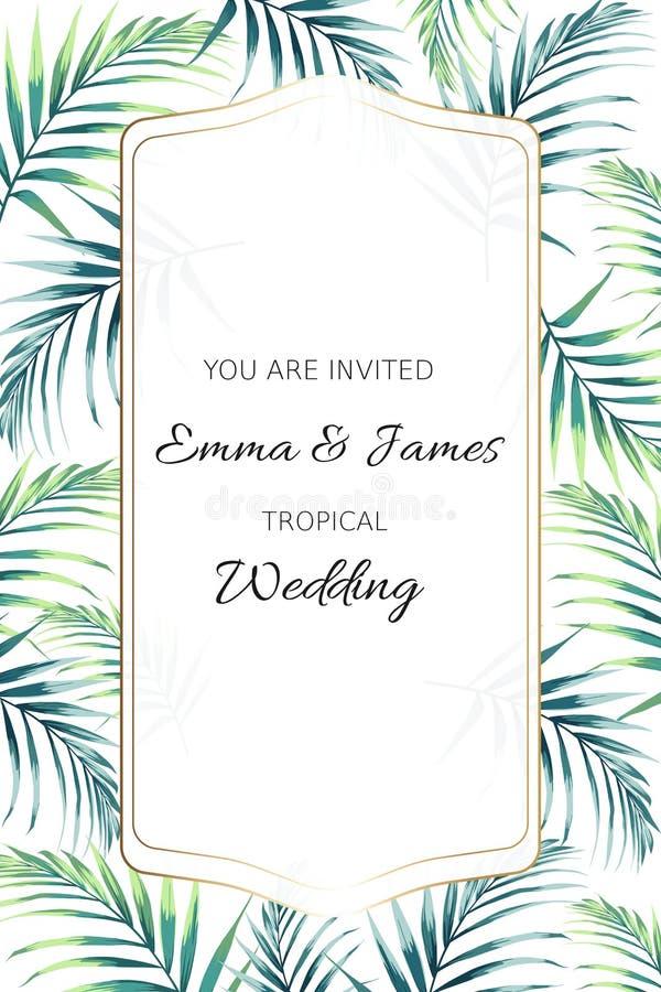 Hälsningkort med tropiska djungelpalmträdsidor på vit bakgrund Kortet för att gifta sig, födelsedagen och annan semestrar stock illustrationer