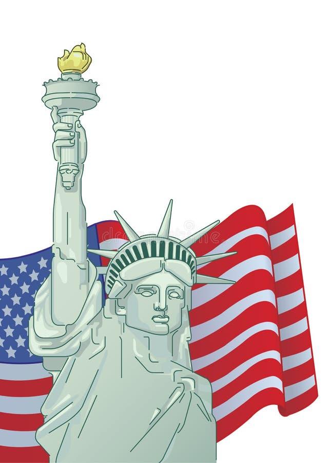 Hälsningkort med U S flagga och staty av frihet 4th juli förenade dagsjälvständighettillstånd Grafiskt AMERIKANSKT royaltyfri illustrationer