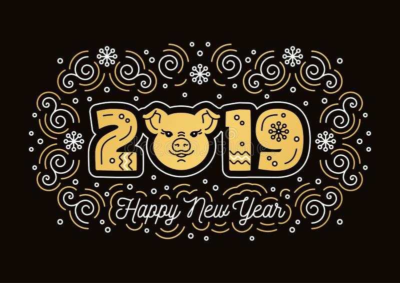Hälsningkort 2019, svinsymbol för lyckligt nytt år Guld- nummer 2019, svinsymbol, moderiktiga virvlar på en mörk bakgrund vektor royaltyfri illustrationer