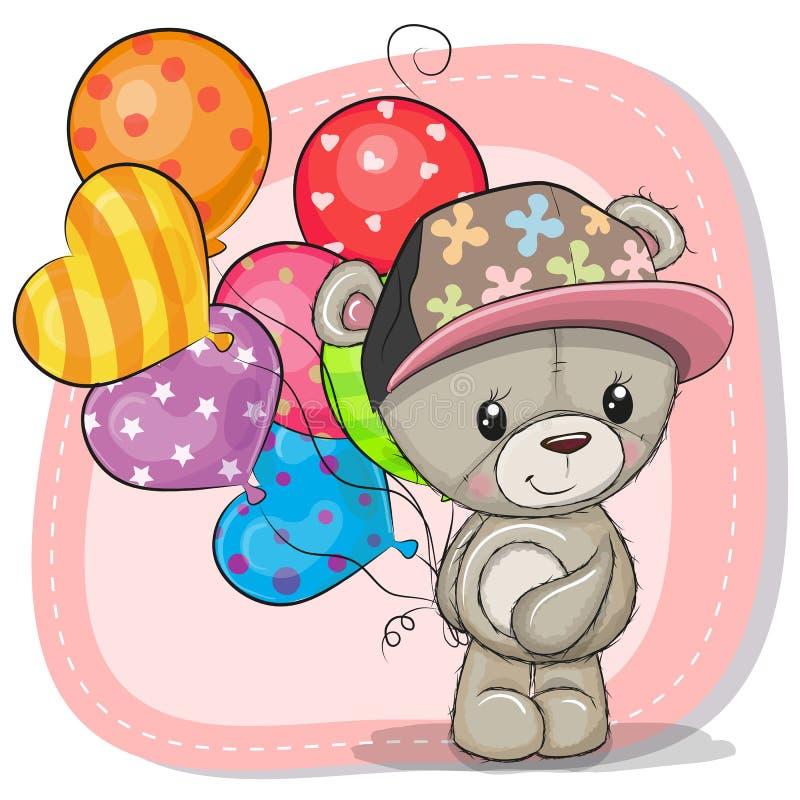 Hälsningkort Teddy Bear med ballonger vektor illustrationer