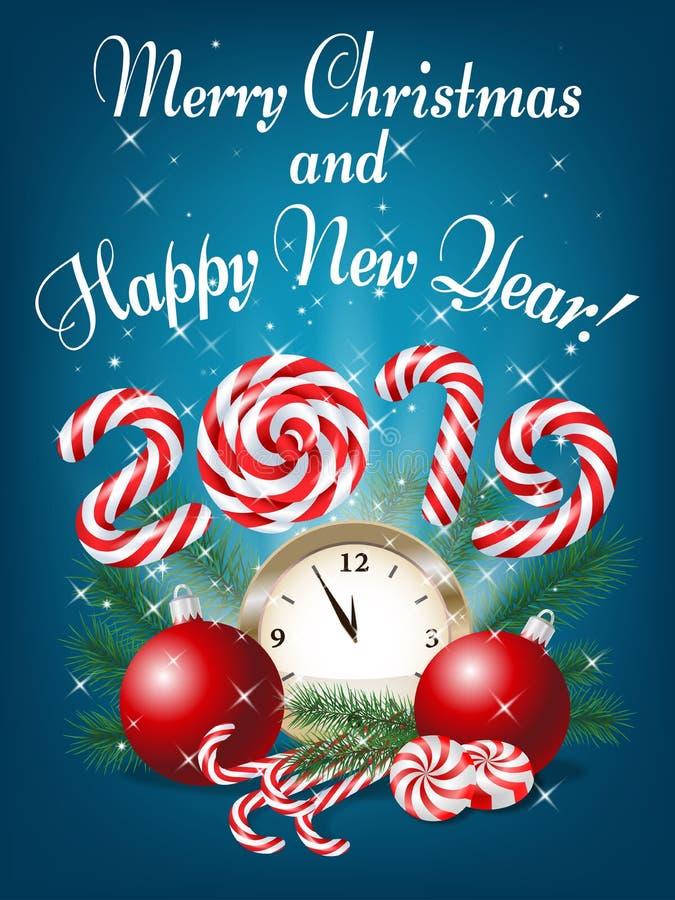 Hälsningkort 2019, vektor il för glad jul och för lyckligt nytt år vektor illustrationer